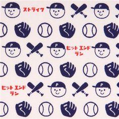 white dark blue baseball sport oxford fabric by Kokka 1