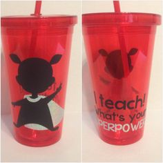 This supercute cup is perfect for the teacher in your life! We are teachers! It is our SuPeRpOwEr! This cup is red, with Silver Sparkle accents!   I Teach... What is your Superpower Red by MrsHoffersSpot on Etsy, $10.00