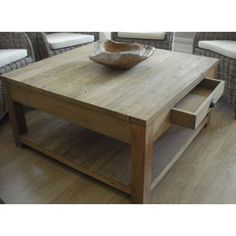 Rustic Recycled Teak Coffee Table with Drawer and Shelf