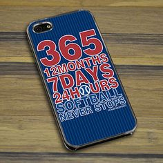 Softball iPhone/Galaxy Case Softball 365 - This customizable protective case is the perfect accessory for any softball players phone.  This great softball smartphone case fits the iPhone 4, iPhone 4S, iPhone 5, and Galaxy.