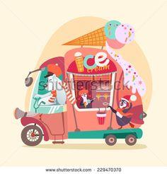 Cute cartoon ice-cream wagon/van with polar bear and penguins. Vector illustration