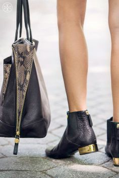 Tory Burch | snakeskin accents and gold heeled boots