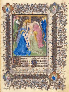Horas de la Cruz-Descendimiento de la Cruz-Belles Heures of Jean de France duc de Berry-Folio 80r- ©The Metropolitan Museum of Art