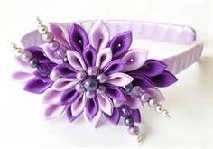 Kanzashi Fabric Flower headband purple and violet lotus. by JuLVa Cloth Flowers, Satin Flowers, Felt Flowers, Fabric Flowers, Diy Flowers, Ribbon Art, Ribbon Crafts, Diy Ribbon, Ribbon Flower