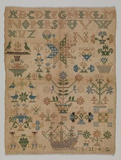 Date: Culture: Dutch Medium: Silk on linen Dimensions: H. 9 inches x cm) Classification: Textiles-Embroidered Credit Line: From the Collection of Mrs. Lathrop Colgate Harper, Bequest of Mabel Herbert Harper, 1957 Accession Number: Cross Stitch Love, Cross Stitch Samplers, Cross Stitch Designs, Blackbird Designs, Embroidery Sampler, Cleveland Museum Of Art, Textile Fiber Art, Antique Quilts, Needlepoint