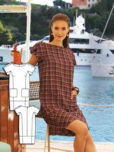 Yacht Club Collection - This simple dress features decorative shoulder bars, a wider hem band and shoulder epaulettes with decorative buttons.