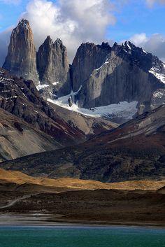 The granite peaks of Torres del Paine in Patagonian Chile, seen from Lago Nordenskjöld.