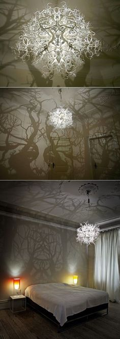 Luminaire that casts a forest shadow