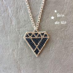Collier ras le cou avec pendentif diamant en perles miyuki : Collier par brin-de-nat