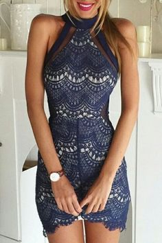 See-Through Sapphire Blue Lace Dress