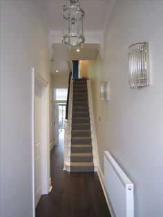 Strong White and Ammonite Farrow and Ball Painted Hallway Victorian House Revival . Hallway Paint, White Hallway, Hallway Flooring, Hallway Carpet, White Stairs, Dundee, Luxury Home Decor, Luxury Homes, Ammonite Farrow And Ball