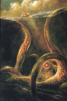 In Norwegian sea folklore, the Kraken is an enormous sea monster which would sometimes attack ships and feed upon the sailors. It was supposed to be capable of dragging down the largest ships and when submerging could suck down a vessel by the whirlpool it created. It is part octopus and part crab, although others refer to it as a giant squid or cuttlefish. (x) Artwork by Bob Eggleton