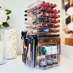 LUX Lip Stand with Drawers 80 Sections 2 Drawers Lipstick holder acrylic makeup organizer clear drawers stand mac makeup artist… Beauty Makeup Tips, Diy Makeup, Beauty Hacks, Makeup Deals, Makeup Box, Eyebrow Makeup, Makeup Storage Table, Storage Ideas, Makeup Tables