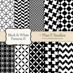 "Black and White Patterns 2 Digital Paper Set - 12"" x 12"" JPG Images - INSTANT DOWNLOAD on Etsy, £2.49"