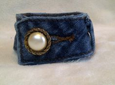 Upcycled Denim Pearl Buttoned Cuff Bracelet. $12.00, via Etsy.