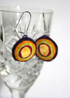 Felted earrings - fuzzy layers - CraftStylish
