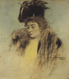 1900 Portrait of Teresa Mariani by Ramon Casas Medium: Charcoal, pastels and spray ink on paper