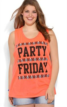 Plus Size Party Friday Tank Top with Party Friday Screen