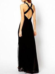 Black Maxi Dress With Cross Back