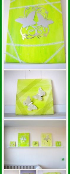 Groene schilderijen met vlinders voor op de kinderkamer - Creatief en Simpel - Ga naar onze site voor verdere uitleg en de werkbeschrijving