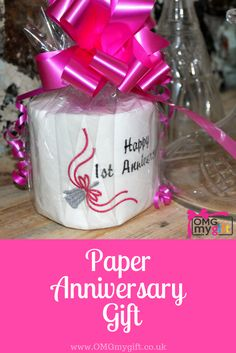 The ideal First Anniversary Gift. Novelty embroidered toilet roll for the Paper Wedding Anniversary