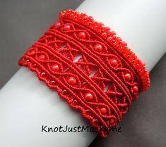 Red Argus Micro Macrame Cuff Bracelet Eyes by KnotJustMacrame Macrame Necklace, Macrame Jewelry, Macrame Bracelets, Micro Macramé, Simple Bracelets, Handmade Jewelry Designs, Czech Glass Beads, Hobbies And Crafts, Bracelet Designs