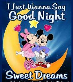 Mickey & Minnie on the moon Goid Night, Good Night Beautiful, Good Night Love Quotes, Good Night Prayer, Good Night Blessings, Good Night Gif, Good Night Messages, Good Night Sweet Dreams, Good Night Image