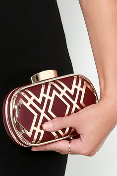 Time for Takeoff Gold and Oxblood Red Clutch at Lulus.com!