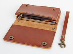 Leather iPhone wallet case with mini zipper in by BluePetalz, $35.00  For the price, this is awesome!