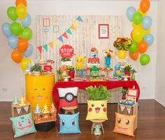 Kids heading back to school? Celebrate this brand new adventure with this oh-so-cute event featured here at Kara's Party Ideas. Festa Pokemon Go, Baby Pokemon, Pokemon Birthday, Lego Birthday Party, Birthday Ideas, 5th Birthday, Pokemon Party Decorations, Birthday Party Decorations, Back To School Party