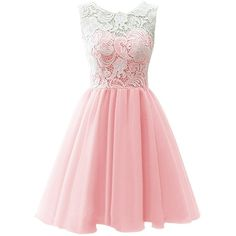 Dresstells Women's Short Tulle Prom Dress Dance Gown with Lace (€73) ❤ liked on Polyvore featuring dresses, pink, prom dresses, short prom dresses, homecoming dresses, pink bridesmaid dresses and red bridesmaid dresses