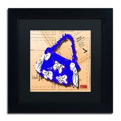 'Bow Purse White on Blue' by Roderick Stevens Framed Graphic Art