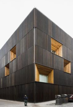 black wood cladding- so cool.