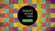 A creative expo event video template. A colour blocked background with a dark text box displaying 2020 art annual expo event.