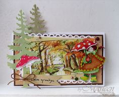 Card by DT member Marleen with Craftables Basic Rectangle (CR1334), Creatables Mushrooms (LR0372) and Den (LR0379)