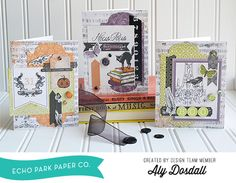 "Halloween Card Set by Aly Dosdall with Echo Park's ""Arsenic and Lace"" Collection. #echoparkpaper"
