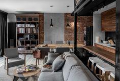 Salon połączony z kuchnią i jadalnią jest idealnym miejscem nie tylko do wypoczynku ale też spotkań towarzyskich. Otwarta kuchnia umożliwia gospodarzom przygotowywanie posiłków, nie zaniedbując przy tym gości.