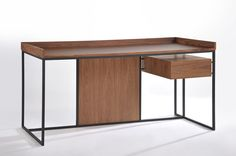 Martha modern wooden study table with stylish black powdercoated steel base