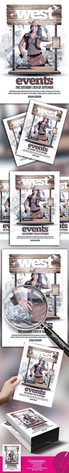 Western Events Flyer — Photoshop PSD #theme #gun poweder • Download ➝ https://graphicriver.net/item/western-events-flyer/20286553?ref=pxcr