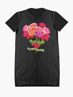 Flower Power Shirt | T-Shirt Kleid mit dem Text Flower Power, im Hintergrund ein Blumenstrauß. DER KLIMAWANDEL IST REALITÄT. WIR MÜSSEN DIE ERDERWÄRMUNG SENKEN, UM DEN KLIMAWANDEL ZU STOPPEN. • Entdecke einzigartige Designs und Motive von unabhängigen Künstlern. Flower Power, Designs, Mens Tops, Fashion, Gowns, Moda, Fashion Styles, Fashion Illustrations