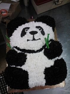 Sculptured and decorated. Panda. All cake scuptred and iced to resemble panda bear