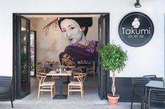 Restaurante japonés 'Takumi'. Sevilla. Japanese Restaurant Interior, Restaurant Interior Design, Interior Concept, Modern Interior, Industrial Chic Style, Sushi Design, Parasol, Asian Art, Wall Murals