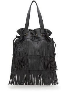 Bucket style tote bag with fringes, two top handles, adjustable drawstring top, interior zip pocket and magnetic snap button. Fringe Handbags, Black Handbags, Neiman Marcus Handbags, Black Tote Bag, Goodie Bags, Bucket Bag, Fashion Accessories, Totes, Zapatos