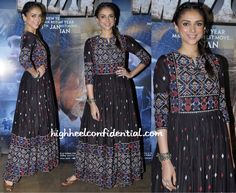 Aditi Rao Hydari In Vrisa anarkali At Wazir Dress Indian Style, Indian Dresses, Indian Outfits, Emo Outfits, Indian Attire, Indian Wear, African Traditional Dresses, Desi Wear, Indian Fashion