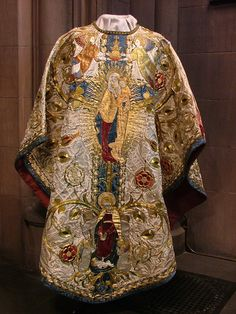 The vestments are at St Mark's Philadelphia and according to the commentary Davis has included with each photo, they were commissioned in 1904 by Rodman Wanamaker in memory of his wife Fernanda. They were worked in London by the Sisters of Bethany.