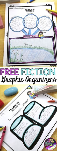 Free Fiction Graphic Organizers! Perfect supports for reading fiction comprehension. Graphic organizers are must have teaching reading resources! These free graphic organizers include analyzing character, making character inferences based on dialogue, and visualizing a setting! Character Graphic Organizer | Setting Graphic Organizer | Making Inferences Graphic Organizer | Reading Comprehension | Fiction Comprehension
