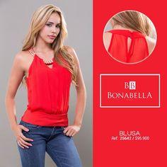 """El rojo es el """"must"""" en tendencia, déjate seducir por este tono sexy e intenso, ¿Qué esperas para utilizarlo en tus looks?  Precio blusa: http://bonabella.com.co/producto/blusa-25642/"""