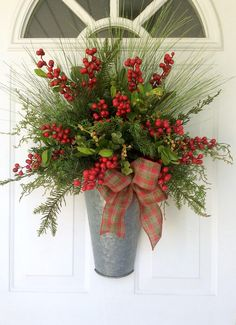 Christmas Wreath-Winter Berry Basket-Farmhouse Christmas