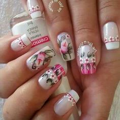 Flower Nails, Nail Flowers, Manicure And Pedicure, Pretty Nails, Nail Designs, Hair Beauty, Nail Polish, Nail Art, Awesome