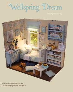 Nerea Pozo Art: ♥ Custom Handmade Diorama Wellspring Dream ♥ Vitrine Miniature, Miniature Rooms, Barbie Furniture, Dollhouse Furniture, American Girl Doll Bed, Cardboard Box Crafts, Doll House Crafts, Doll Beds, Mini Things